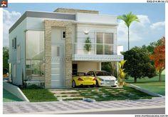 Pinterest: @claudiagabg | Casa 2 pisos 4 cuartos 1 estudio piscina / fachada