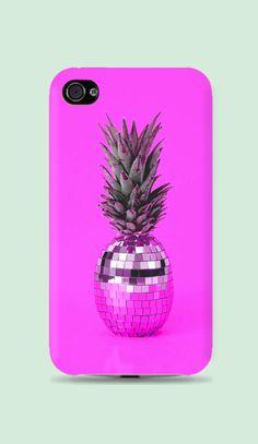 Hot Pink Disco Pineapple Plastic Hard Case - iphone 5 - iphone 4 - iphone 4s - Samsung S3 - Samsung S4 - Samsung Note 2
