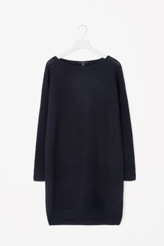 Raised-stripe merino dress