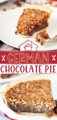 German Chocolate Pie is a quick and easy chocolate dessert perfect for after a romantic dinner with your special someone! This delicious Valentine's day dessert starts with a thick and crunchy layer of coconut and pecans in a bed of chocolate chips. Pin this easy Valentine's day treat! Easy Chocolate Desserts, Vegetarian Chocolate, Sweet Desserts, Just Desserts, Chocolate Chips, Tart Recipes, Baking Recipes, German Chocolate Pies, Valentines Day Desserts