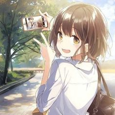 ♡~*ANiME ART*~♡ bishoujo - beautiful anime girl - school uniform - school bag - plaid skirt - short hair - phone - taking photo - blush - smile - cute- moe - kawaii Anime Girl Cute, Kawaii Anime Girl, Anime Art Girl, Anime Girls, Anime Girl Short Hair, Anime Chibi, Chica Anime Manga, Fan Art Anime, Anime Artwork