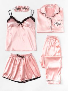 Letter Print Cami Pajama Set With Shirt -SheIn(Sheinside) - Lingerie Cute Pajama Sets, Cute Pajamas, Cute Sleepwear, Lingerie Sleepwear, Nightwear, Pajama Outfits, Cute Outfits, Babydoll, Womens Pyjama Sets