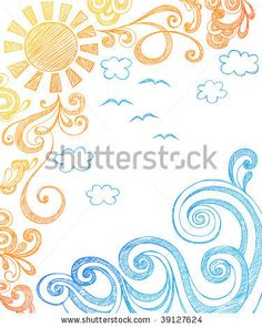 Sunny Summer Day and Ocean Waves Hand-Drawn Sketchy Notebook Doodles Vector Illustration - stock vector