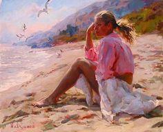 Pinturas de Michael e Inessa Garmash Art Plage, Am Meer, Beach Art, Seaside Art, Ocean Beach, Beautiful Paintings, Female Art, Female Portrait, Art Gallery