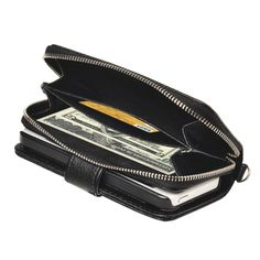 Zipper Wallet Leather Case with Lanyard for iPhone 5 & 5S(Black)