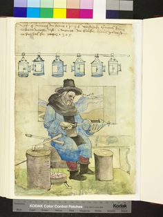 "Lantern Maker 1536 - ""Description: The lantern makers sitting on his stool and soldered to a piston, which he heated in a brazier standing on the floor, the bottom of a round lamp. Various tools, a tin snips, chisel and awl lying on the station blocks, hammer and solder on the bench. At the bar six finished hanging lamps with handles."" Amb. 317.2° Folio 155 verso"