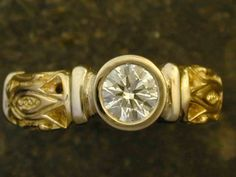 Diamond and 14K Gold and 18K Gold Ring by peteconder on Etsy