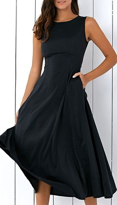 Casual Round Neck Sleeveless Loose Fitting Midi Dress For Women #fashiondressescasual