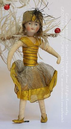 THE OLD CHRISTMAS STATION - Old Cotton Ornament :: Flapper Girl :: Bisque Face :: Heubach :: Dresden Paper :: antique German Christmas Decorations :: Sebnitz :: Cotton Ornaments :: Figural Glass :: Belsnickle :: Tinsel :: Christmas Rarities