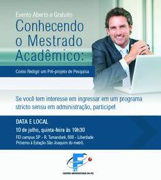 As inscrições para Mestrado e Doutorado em Administração no Centro Universitário da FEI estão abertas até o dia 18 de julho. Mais informações em: www.fei.edu.br