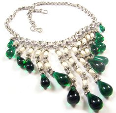 SCHREINER (unsigned) Simulated Emerald, Pearl and Diamond Multiple Pendants Necklace..