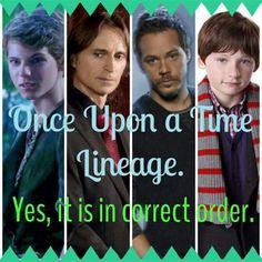 Once Upon a Time Lineage: Peter Pan (Rumplestiltskin's father), Rumplestiltskin, Baelfire/Neal, Henry.