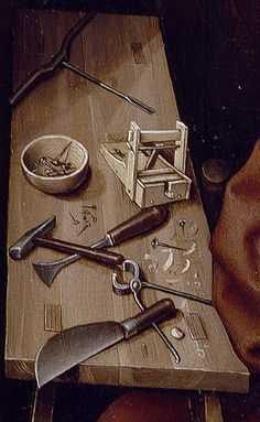 """Annunciation Triptych (Merode Altarpiece), ca. 1427–1432 Workshop of Robert Campin (South Netherlandish, active by 1406, died 1444), detail of right panel. """"Joseph works in his carpenter's shop drilling holes in a board. The two mousetraps are thought to allude to a line from the Sermons of Saint Augustine: 'The cross of the Lord was the devil's mousetrap; the bait by which he was caught was the Lord's death.'"""""""
