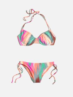 madewell ruched bikini top in electric ikat