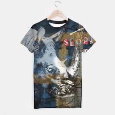 Stop Rhino Poachers Wildlife Conservation Art T-shirt, Live Heroes