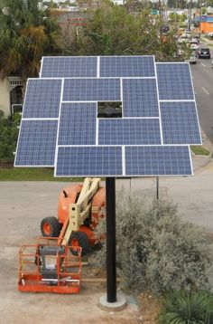 This pole mounted solar array is located at the offices of Texas Solar Outfitters at 705 Shepherd, Houston TX and consists of 12 x 240 watt panels.