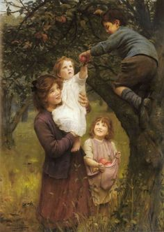 Picking Apples, Arthur John Elsley................ Most rewarding and wonderful thing in my life..... being a mother !!!!