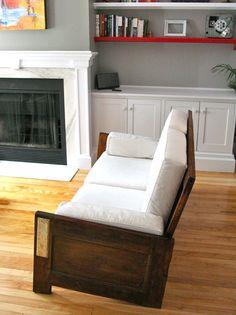 door repurposed into a couch