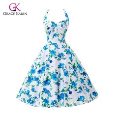 Womens Summer Style 50s 60s Vintage dresses Retro Floral print casual Party