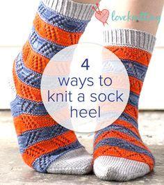 4 ways to knit a sock heel - FREE tutorial on LoveKnitting