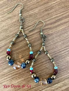 Teardrop Earrings, Boho Beaded Earrings, Beaded Earrings, Mothers Day Gifts For Her, Gemstone Earrings, Rustic Jewelry, Bohemian Jewelry Teardrop earrings made with earthy colored beads with a round light topaz Swarovski crystal in the middle. From the earwire, earring measures 2 inches