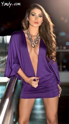 Cheap Low Cut Billow Purple Dress online - All Products,Sexy Clubwear,Club Dresses V Dress, Bodycon Dress With Sleeves, Dresses With Sleeves, Sheath Dress, Shirred Dress, Sleeved Dress, Mesh Dress, Mini Dress Clubwear, Clubwear Dresses