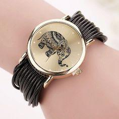 New Women Leather Bracelet Watches Fashion Casual Elephant Wrist Watches Relojes Mujer Relogio Feminino Clock 2015 BW1687
