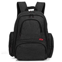 CoolBELL Baby Diaper Backpack With Insulated Pockets/Large Size Water-resistant Baby Bag/Multi-functional Travel Knapsack Include Changing Pad (Black) Best Backpack Diaper Bag, Cute Diaper Bags, Girl Diaper Bag, Black Diaper Bag, Large Diaper Bags, Baby Changing Bags, Changing Pad, Mothers Bag, Pockets