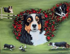 """A tribute to """"Maddie"""", a wonderful Border Collie who will not be forgotten - from an original painting by North Carolina artist, Fran Brooks.  www.artistnannie.com"""