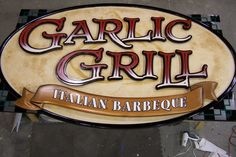 Garlic Grill Carved Sign #coastalsign #carved #italian #custom #painted