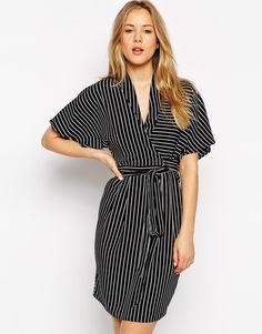 ASOS Pinstripe Kimono Wrap Dress