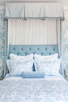 Bailey McCarthy's Biscuit Home - The Glam Pad light blue floral bedroom decor Bedroom Decor On A Budget, Floral Bedroom Decor, Home Bedroom, Bedroom Design, Biscuit Home, Girls Bed Canopy, Blue Bedroom, Beautiful Bedrooms, Blue Floral Bedroom