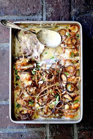 Bakeaholic Mama: Scalloped Root Vegetables with Ham and Crispy Fried Onions