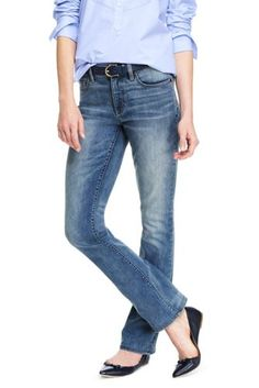 Women's Mid Rise Boot Cut Jeans from Lands' End