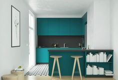 Green kitchen and great tiles