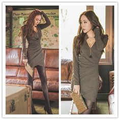 TE6313YZS Europe style sexy v-neck tight hip long sleeve dress