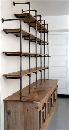 Industrial decor kitchen - The Hemingway Wall Mount Bookcase Reclaimed Wood Bookshelf Pipe Wall Bookshelf Shelf Built In Industrial Shelving Store Display – Industrial decor kitchen Vintage Industrial Furniture, Industrial House, Kitchen Industrial, Kitchen Rustic, Industrial Design, Kitchen Ideas, Industrial Restaurant, Modern Industrial, Industrial Basement Bar
