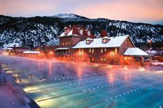 Glenwood Springs   I used to live there.  Remember doing water aerobics at the hot pool.  Loved the icicles in my hair and the soak in the hot pool after class.