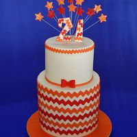 Chevron 21st Birthday Cake by Sweet Fascinations