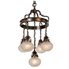 Eclectic Copper Suspended Ring and Shower Chandelier, circa 1915. mottled copper over brass. Good condition.