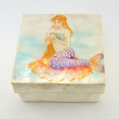 [6185] mermaid on shell large capiz box