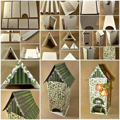 DIY Bird House Shaped Cardboard Tea Bag Dispenser 3