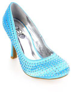 Deb Shops single sole satin high heel with stones