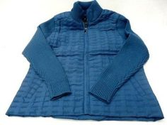 NEW David Collection i5 L3605 Women's Puffer Jacket With Knit Sleeves (M, STEEL BLUE) i5. $26.95