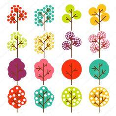 Background vector arbre coloré pour affiche