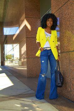 Neon Blazer + Tank + Bell Bottom Jeans