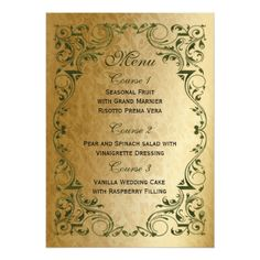 Shabby Chic Wedding Menus rustic green gold regal wedding menu card
