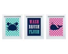 Boys or Girls Bathroom Wall Decor Bathroom Rules Crab Whale Wall Art Set of 3-8X10 Prints Pink Aqua Navy Gender Neutral Wall Art