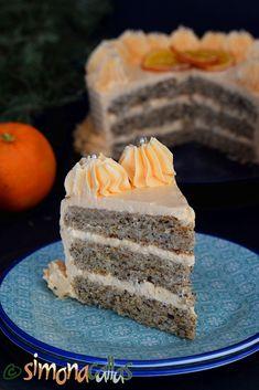 Tort cu nuci si portocale Vanilla Cake, Deserts, Postres, Dessert, Plated Desserts, Desserts