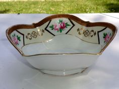 Vintage Nippon Candy Dish Bowl  Unusual Shape  Thick Gold Border   Hand Painted #Nippon